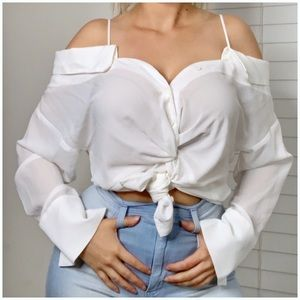 White off shoulder button down blouse
